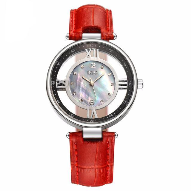 Women Leather Ceramic Dial Casual Quartz Watch