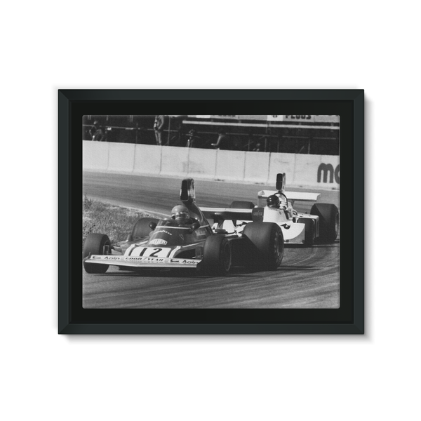 Niki Lauda and James Hunt - 1974 Swedish Grand Prix - Framed Canvas