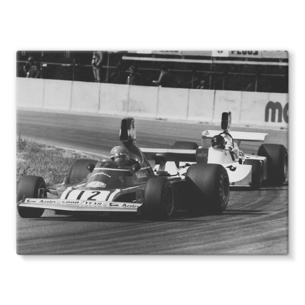 Niki Lauda AND James Hunt - 1974 Swedish Grand Prix - Stretched Canvas