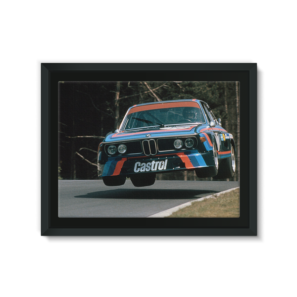 Nurburgring, Germany May 1974. Hans Joachim flying in his powerful BMW 3.5 CSL.