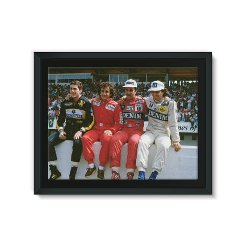 1986 Portuguese Grand Prix Championship Contenders. Nigel Mansell, Nelson Piquet, Alain Prost and Ayrton Senna.