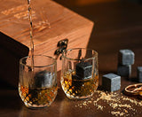 Koncpt U:Whiskey Set - 8 Granite Whisky Rocks + 2 Crystal Shot Glasses in Wooden Box, Koncpt U