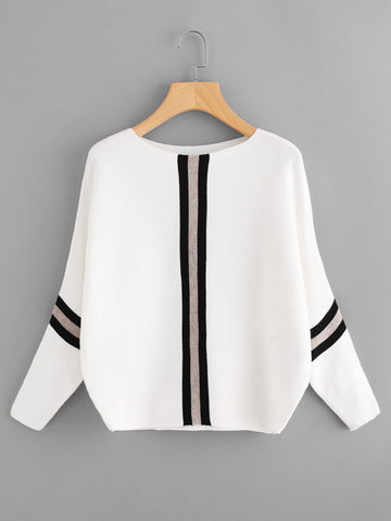 Koncpt U:Contrast Striped Panel Ribbed Sweater, Koncpt U