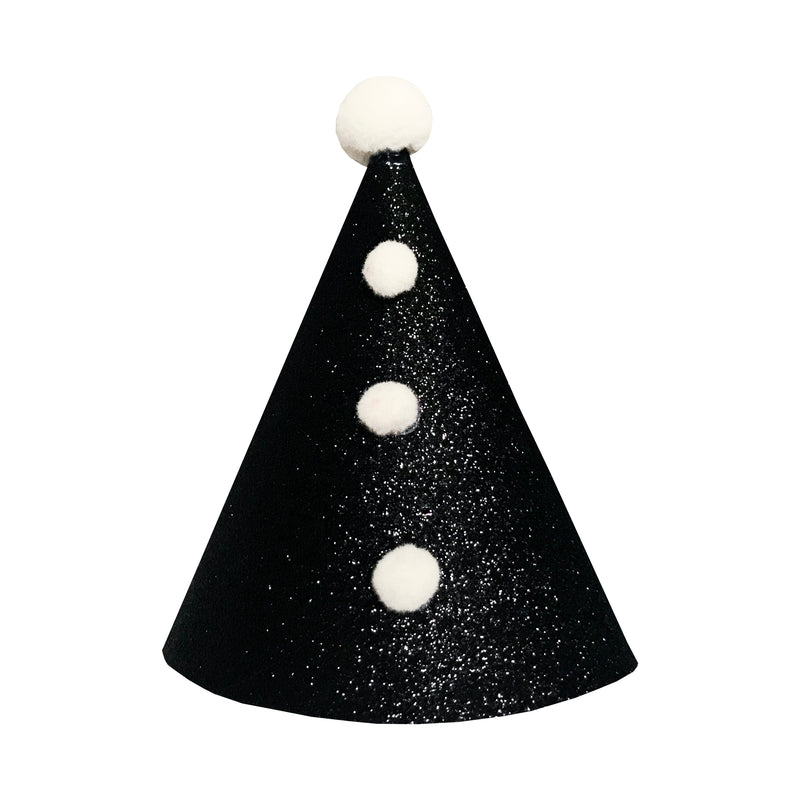 Fable Heart Black Pierrot Party Hat £6 - A handmade black sparkly party hat, with four cream Pom Poms.