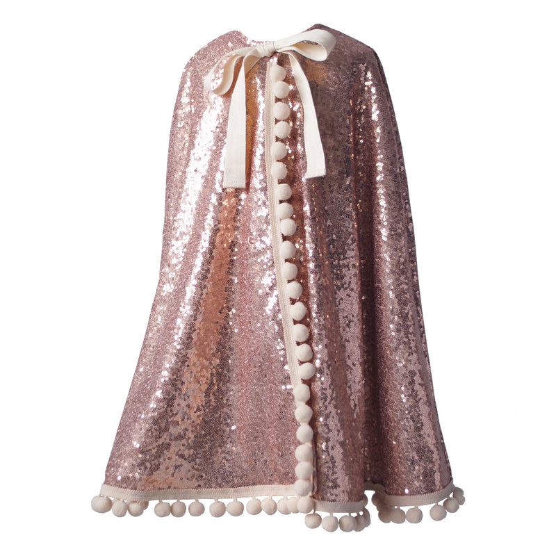 Fable Heart Rose Gold Cape - a bright and sparkly Rose Gold sequin cape.
