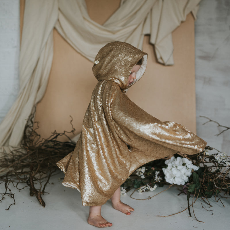 Fable Heart Antique Gold Hooded Cape lifestyle image