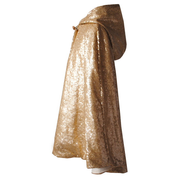 Fable Heart Antique Gold Hooded Cape (side view)