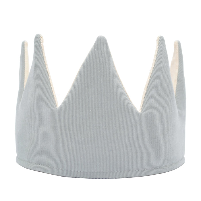 Fable Heart Grey Corduroy Crown - A light, silver grey crown