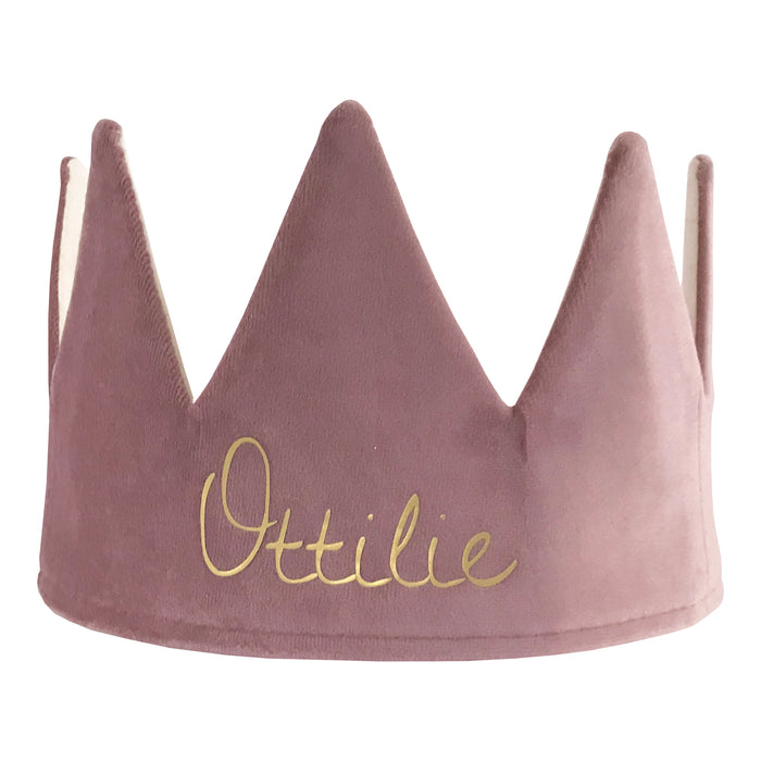 Fable Heart Personlised Heather Crown £25, a luxurious dusty mauve velvet & cotton crown, finished with magical golden print
