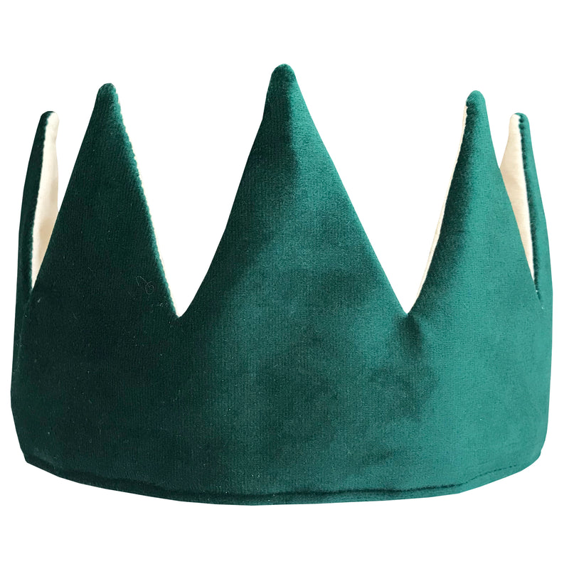 Fable Heart Forest Crown £25, a luxurious gree velvet & cotton crown, finished with magical golden print