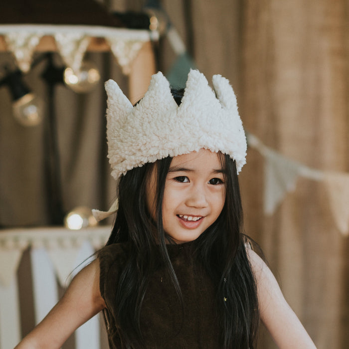 4 year-old wearing Fable Heart Lana Crown £25 - a soft crown, made with faux sheep fleece
