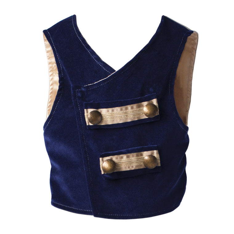 Navy Velvet Toy Soldier Waistcoat (Sample)