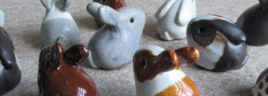 rabbit gifts, rabbit gift ideas, bunny gifts, rabbit accessories. Group of rabbit ornaments made in the UK