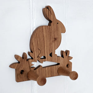 Oak Rabbit Coat Hooks