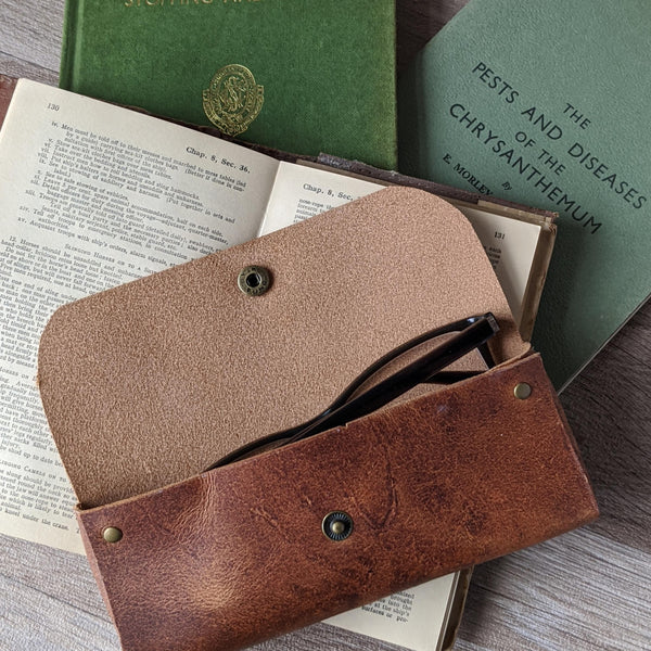 Rabbit Glasses Case - Tan Leather - Everything Bunny Rabbit