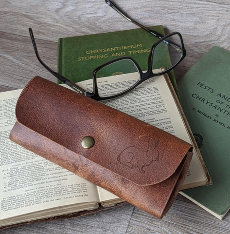 Rabbit Glasses Case - Tan Leather