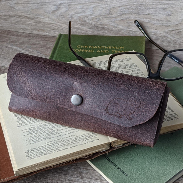 Rabbit Glasses Case - Brown Leather - Everything Bunny Rabbit