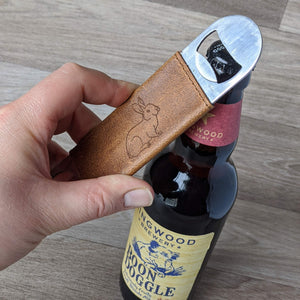 Rabbit Bottle Opener - Tan Leather - Everything Bunny Rabbit