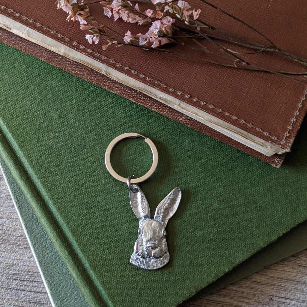 Handcrafted in the UK. Pewter rabbit keyring keychain