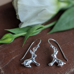 sterling silver sitting rabbit earrings on ear wire - everything bunny rabbit - rabbit earrings - rabbit jewellery