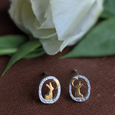 Rabbit Earrings [Rabbit & Moon Stud] - Everything Bunny Rabbit