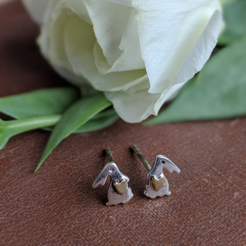 rabbit stud earrings with gold heart on tummy - sterling silver - everything bunny rabbit
