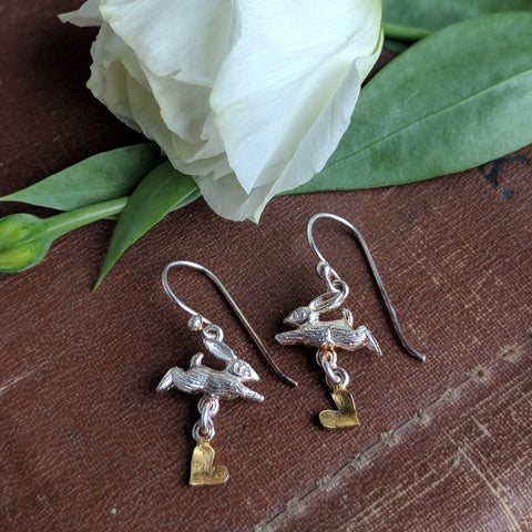 rabbit earrings - sterling silver - jumping rabbit with gold plated heart - ear wires - bunny earrings