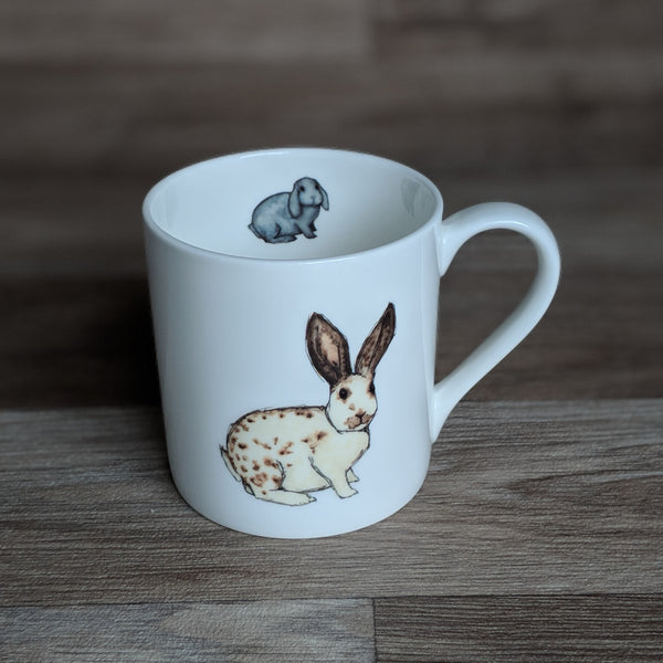 Rabbit Mug - bunny mug - All you need is love...and a rabbit - Everything Bunny Rabbit - white fine bone china mug with rabbit design on - made in the UK
