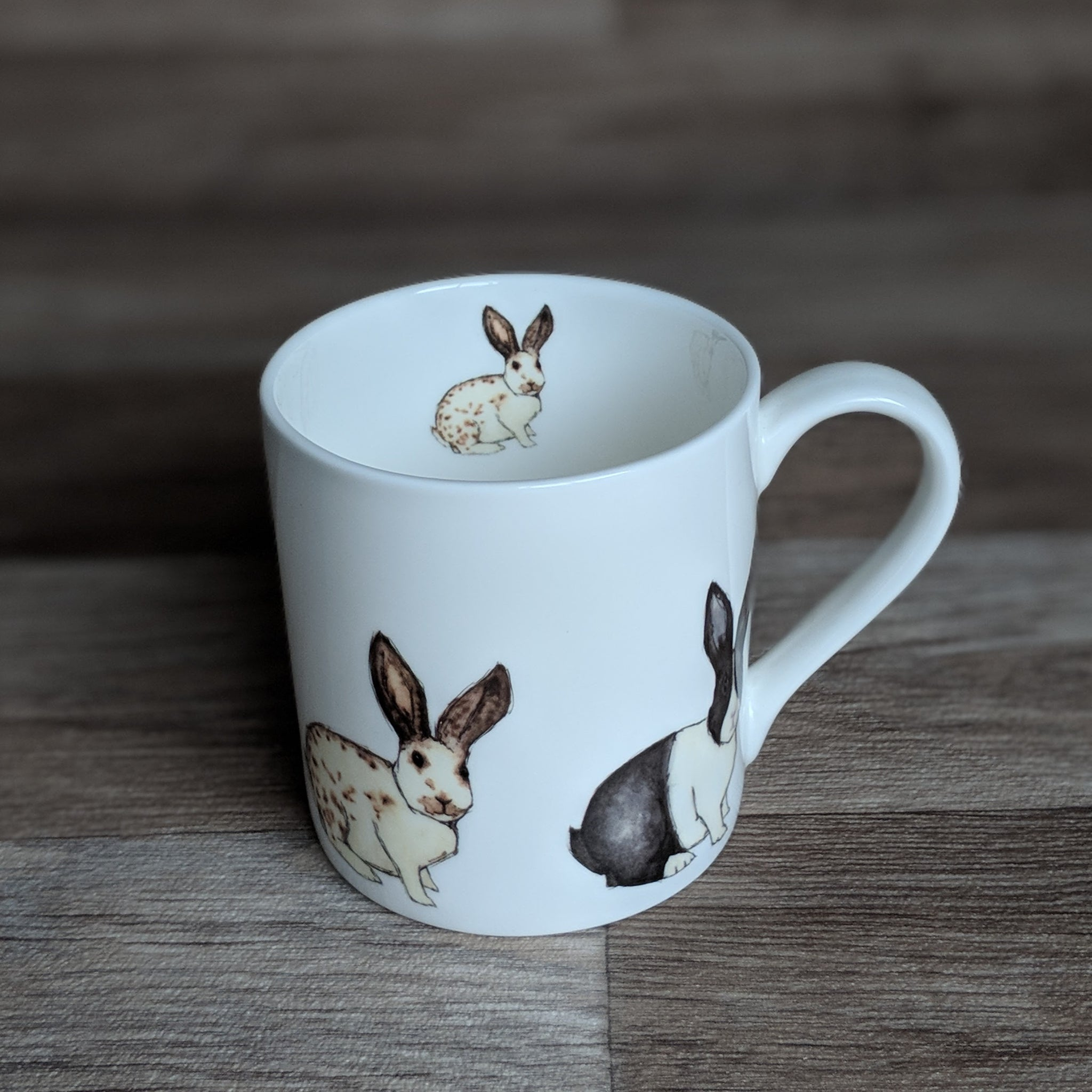 Rabbit Mug - bunny mug - Train Design - Everything Bunny Rabbit - with fine bone china mug with rabbit design on