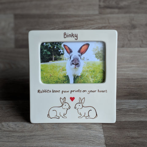 "a hand painted ceramic 6""x4"" photo frame with rabbit design - rabbits leave paw prints on your heart"