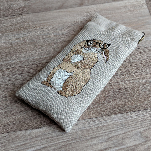 Embroidered Rabbit Glasses Case | Everything Bunny Rabbit - Everything Bunny Rabbit