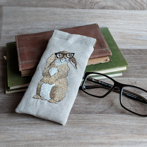 Rabbit glasses case - embroidered with a rabbit wearing glasses - natural linen with a snap shut fastening