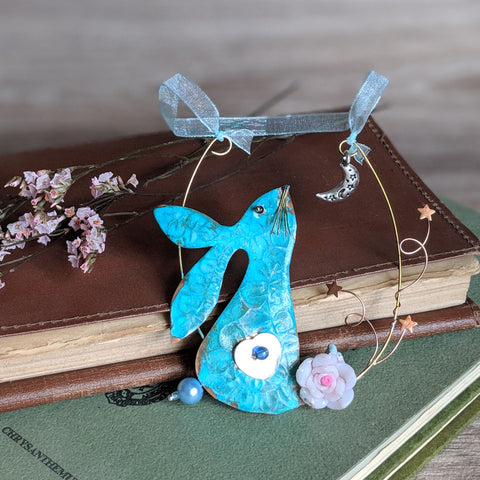 Rabbit Hanging Decoration Blue Tail | Everything Bunny Rabbit - Everything Bunny Rabbit
