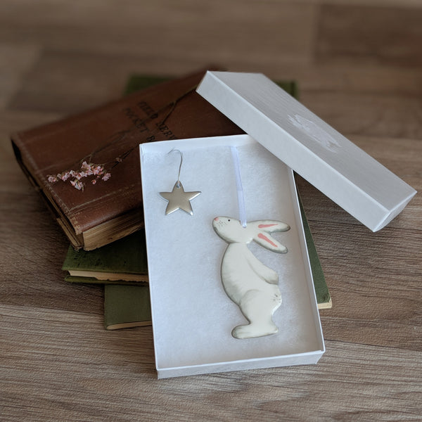 Bunny and Star Hanging Decoration - Grey
