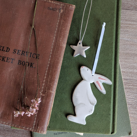 Bunny and Star Hanging Decoration - Grey - Everything Bunny Rabbit