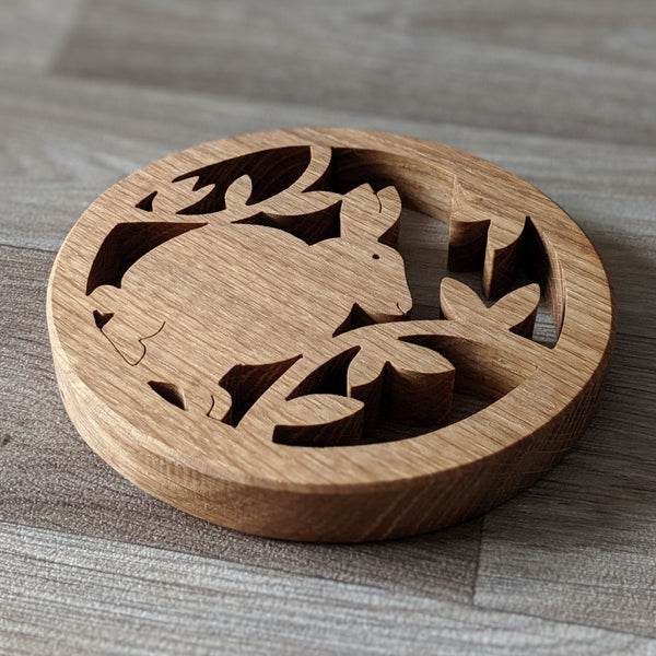 Oak Rabbit Pot Stand - Everything Bunny Rabbit