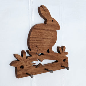Oak Rabbit Key Hook