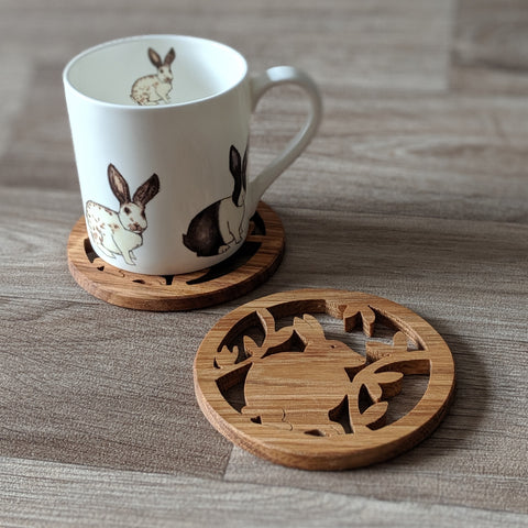 Oak Rabbit Coaster - Everything Bunny Rabbit