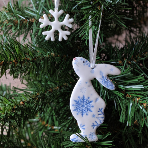Bunny and Snowflake Hanging Christmas Decoration - Everything Bunny Rabbit