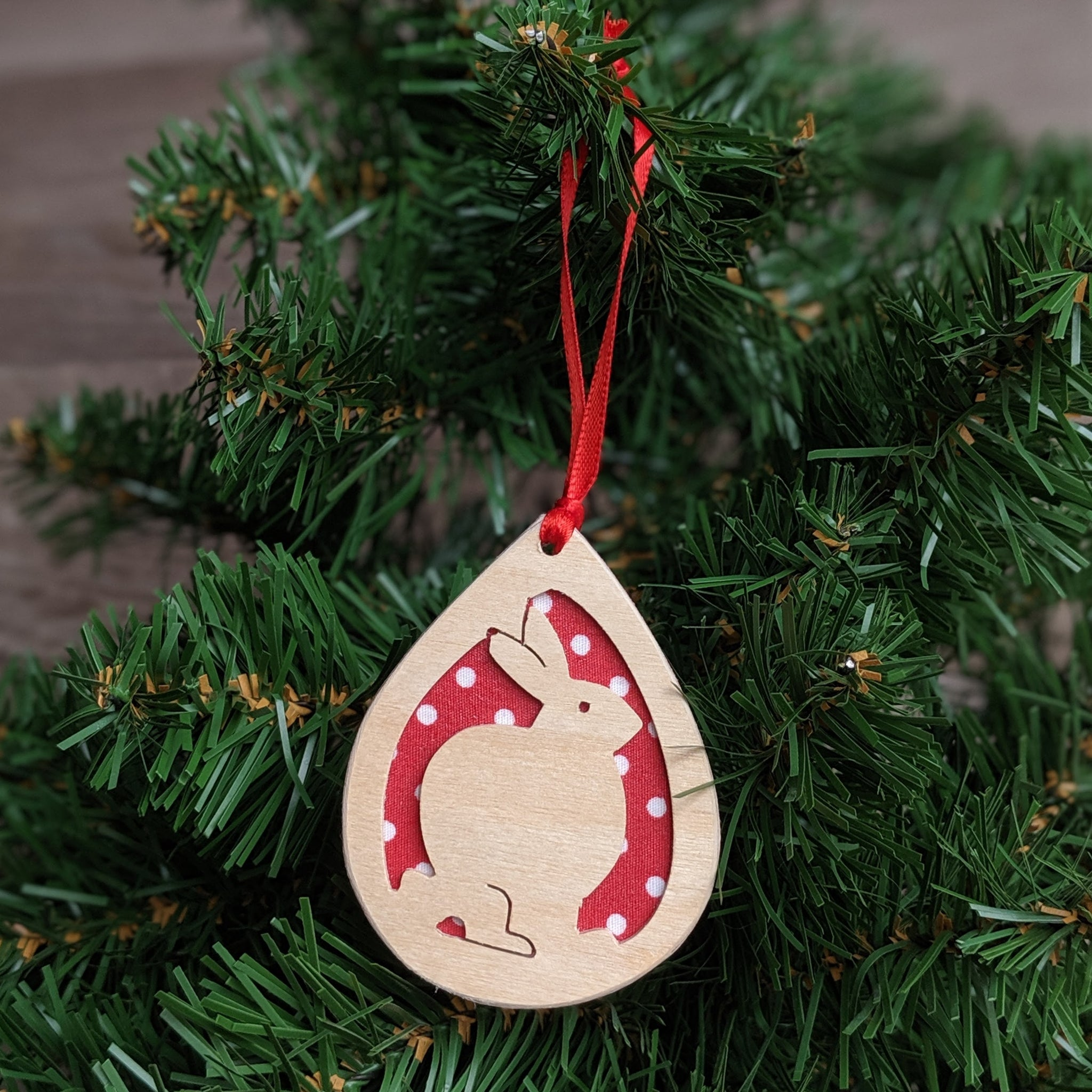 Wooden Rabbit Christmas Tree Decoration (Red)