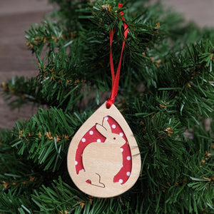 Wooden Rabbit Christmas Tree Decoration (Red) - Everything Bunny Rabbit