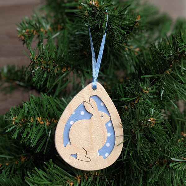 Wooden Rabbit Christmas Tree Decoration (Blue) - Everything Bunny Rabbit