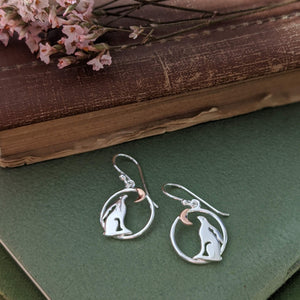 Rabbit Earrings [Gold Moon in Circle] - Everything Bunny Rabbit