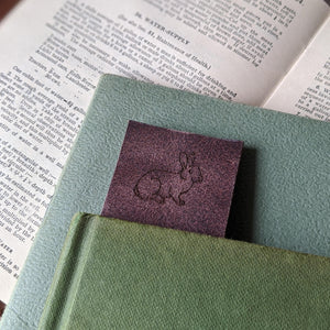 Rabbit Book Mark - Brown Leather