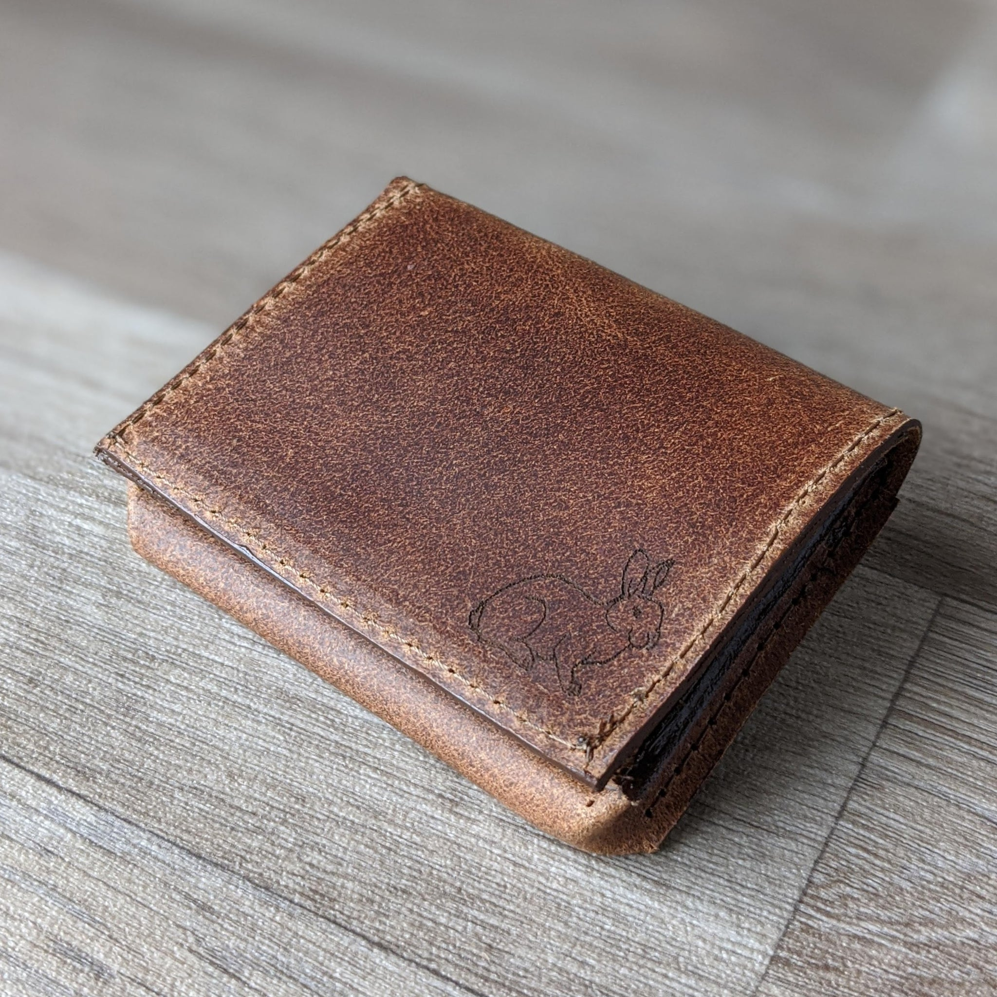 Rabbit Card Holder - Tan Leather