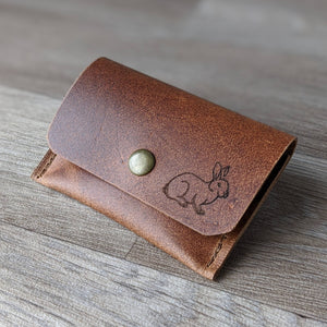 Rabbit Coin Purse - Tan Leather - Everything Bunny Rabbit