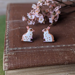 Rabbit Stud Earrings - Brown English Spot - Everything Bunny Rabbit