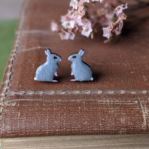 Rabbit Stud Earrings - Grey - Everything Bunny Rabbit