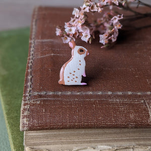 Rabbit Pin Badge - Brown English Spot - Everything Bunny Rabbit