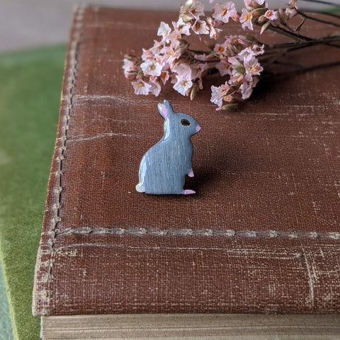 Rabbit Pin Badge - Grey - Everything Bunny Rabbit